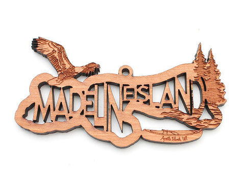 Madeline Island Text Ornament - Nestled Pines
