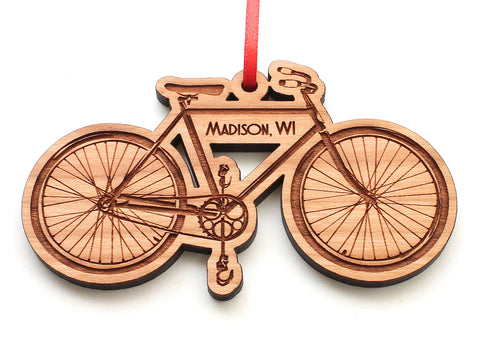 Madison Wisconsin City Bicycle Ornament