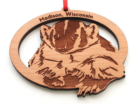 Madison Wisconsin Badger Oval Ornament