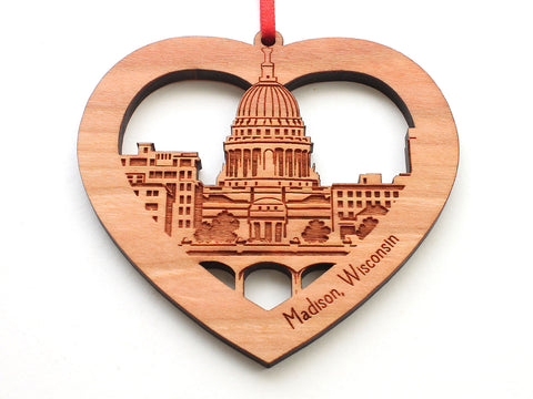Madison Wisconsin Capitol Skyline Lake Monona View Heart Ornament