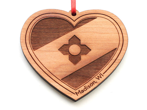 Madison Wisconsin City Flag Heart Ornament
