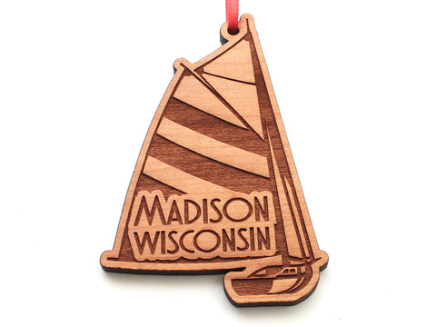 Madison Wisconsin Striped Sailboat Ornament