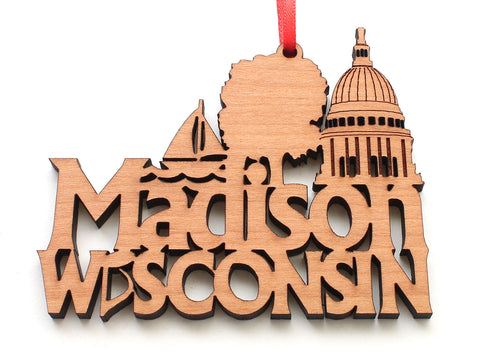 Madison Wisconsin Capital City Text Ornament