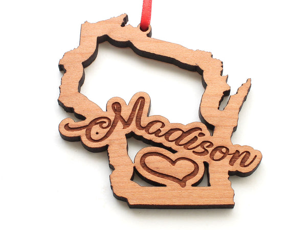 Madison Wisconsin Text Wisconsin State Insert Ornament