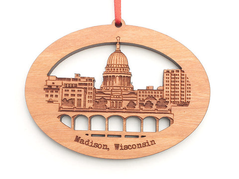 Madison and Monona Terrace Lake View Skyline Ornament - Nestled Pines