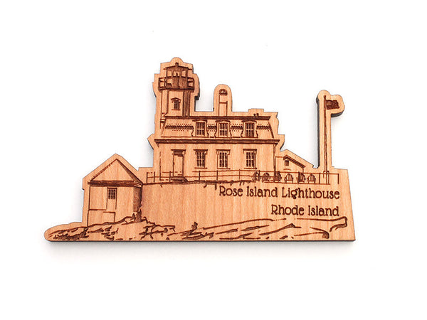 Rose Island Lighthouse Custom Wood Magnet - Nestled Pines
