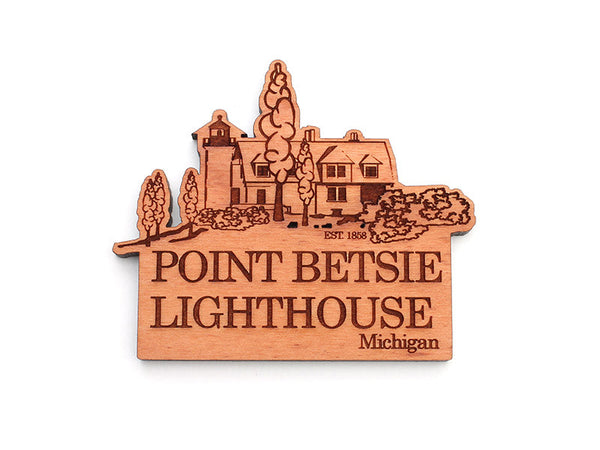 Point Betsie Lighthouse Custom Wood Magnet - Nestled Pines