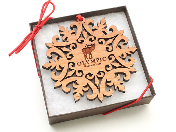 Olympic National Park Lake Quinault Moose Snowflake Ornament Gift Box