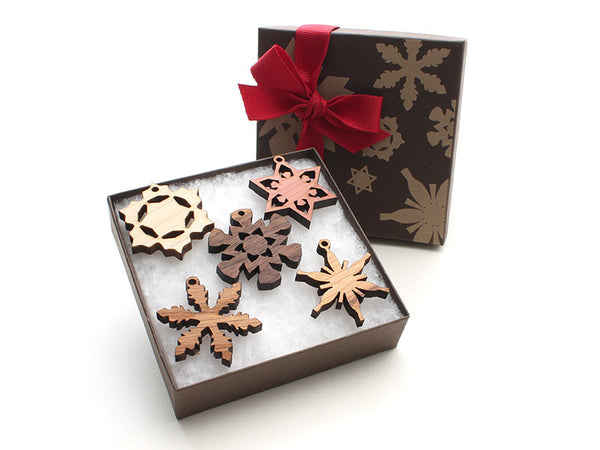 Mini Wood Snowflake Ornament Gift Box - Set of 5 - Nestled Pines