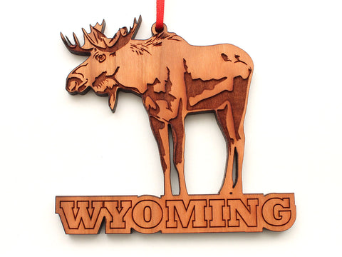 Moose Wyoming Text Ornament