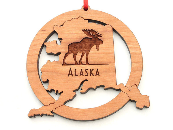 Alaska State Shape with Moose Engraving Ornament