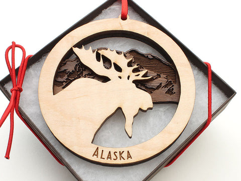 Alaska Moose Double Layer Ornament