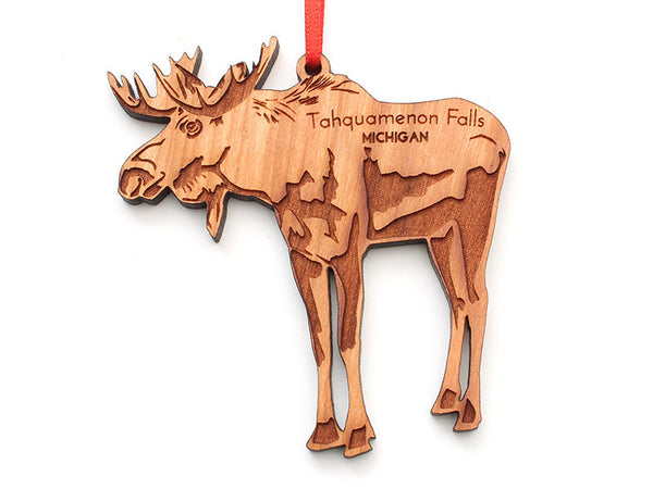 Tahquamenon Falls Moose Custom Wood Ornament - Nestled Pines