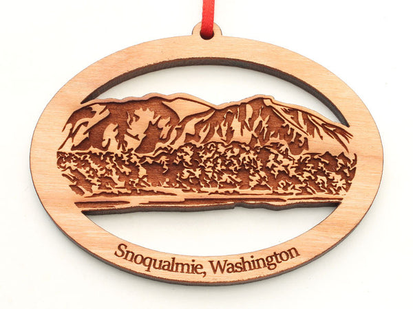 Corners Snoqualmie Washington Mountain Scene Oval Ornament