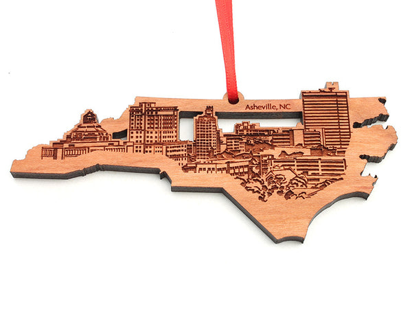 Asheville North Carolina State Cut Out City Skyline Insert Ornament