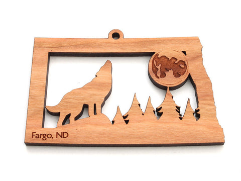 North Dakota State Wolf Howling at Moon Ornament - Nestled Pines