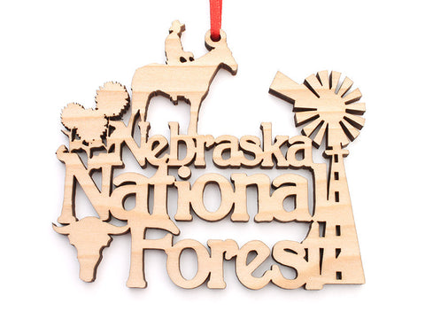 Nebraska National Forest Text Ornament - Nestled Pines