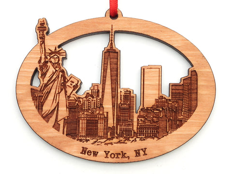 New York City Skyline with Statue of Liberty Ornament