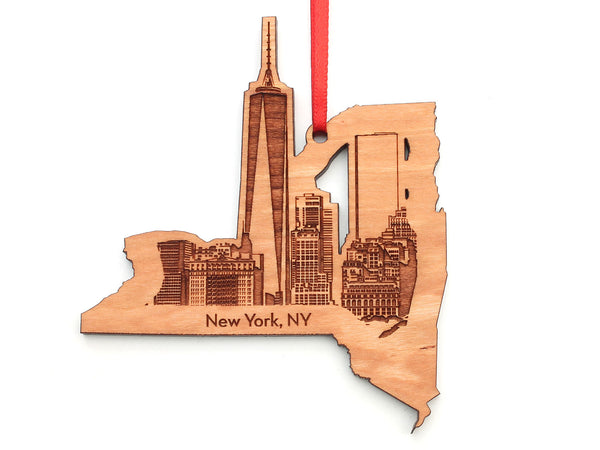 New York City Skyline New York State Cut Out Insert Ornament