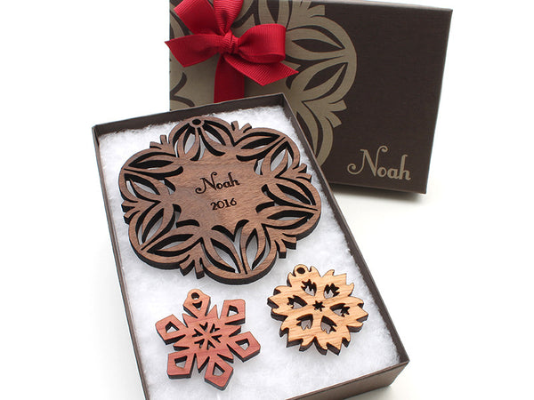 Walnut Christmas Blossom Custom Wood Snowflake Ornament - Nestled Pines - 4