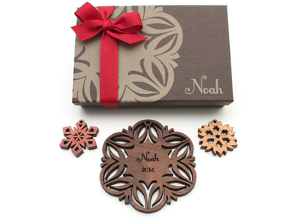 Walnut Christmas Blossom Custom Wood Snowflake Ornament - Nestled Pines - 3