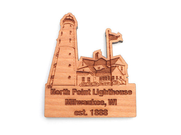 North Point Lighthouse Custom Wood Magnet - Nestled Pines
