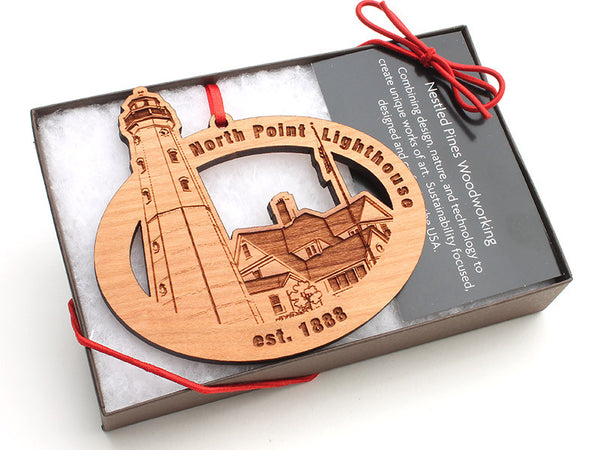 North Point Lighthouse Oval Custom Wood Ornament - Nestled Pines - 1