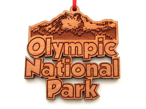 Olympic National Park Mountain Text Ornament