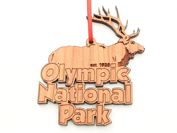 Olympic National Park Elk Text Ornament
