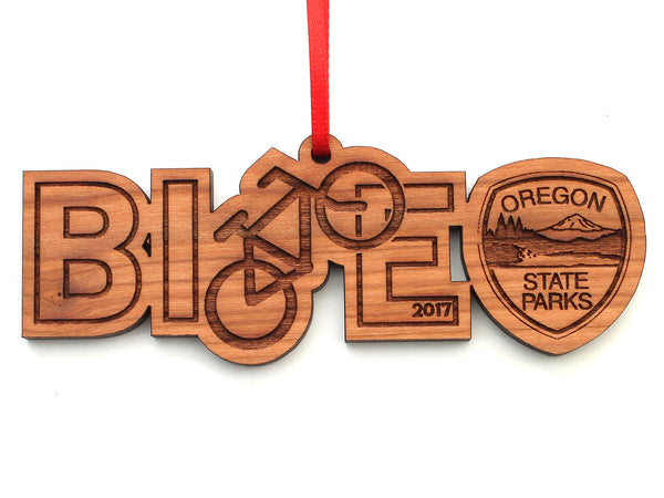 Oregon State Parks Bike Text Ornament