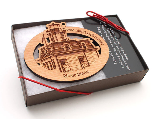 Rose Island Lighthouse Oval Custom Ornament Boxed - Nestled Pines