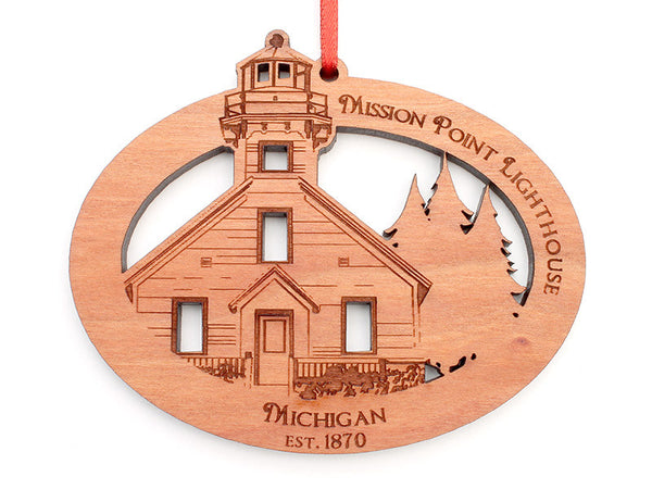 Mission Point Lighthouse Oval Ornament - Nestled Pines