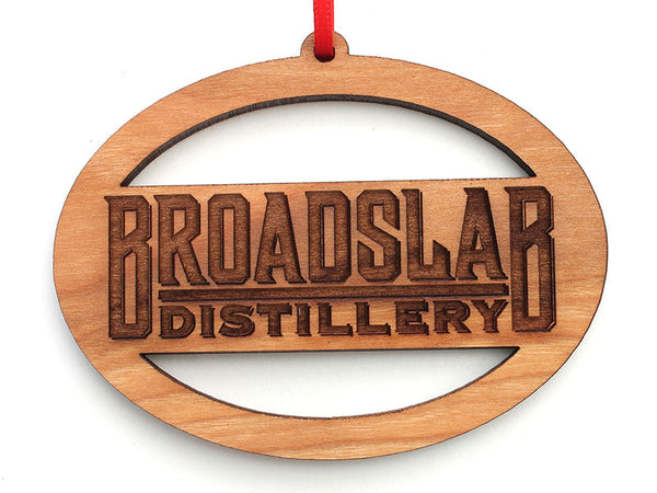 Broadslab Distillery Logo Oval Custom Wood Ornament