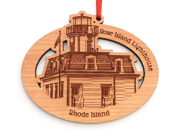 Rose Island Lighthouse Oval Custom Wood Ornament - Nestled Pines