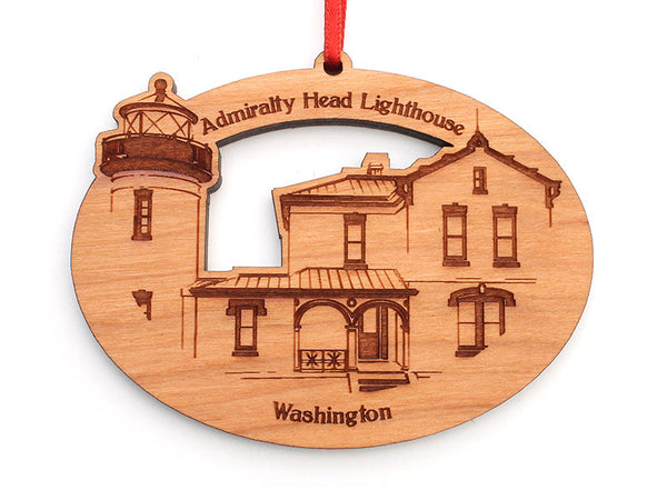 Admiralty Head Lighthouse Oval Custom Ornament - Nestled Pines