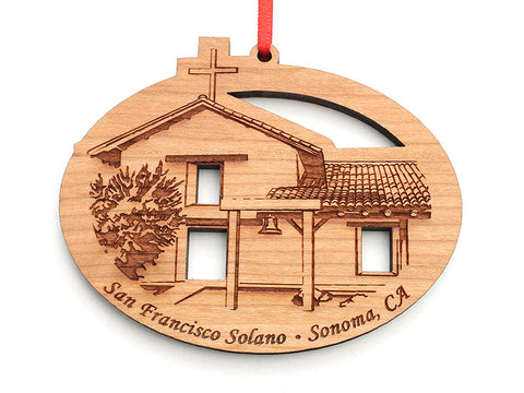 Solano Mission Oval Ornament - Nestled Pines