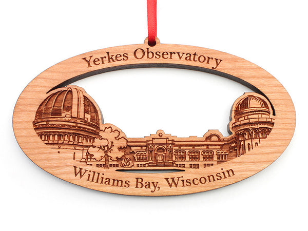 Yerkes Observatory Panoramic View Custom Oval Ornament - Nestled Pines
