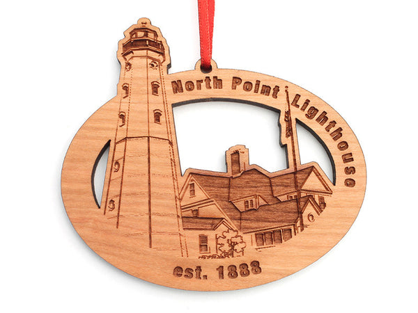 North Point Lighthouse Oval Custom Wood Ornament - Nestled Pines - 2
