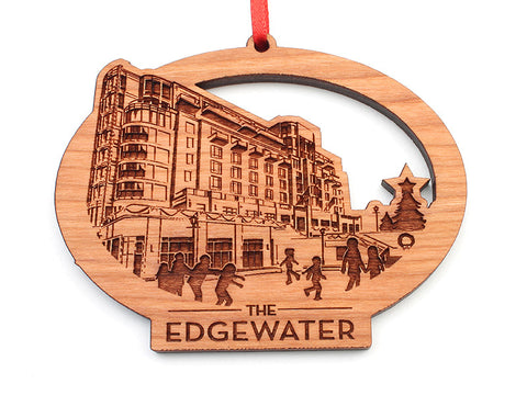 The Edgewater Hotel Custom Oval Ornament - Nestled Pines