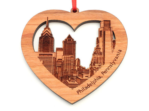 Philadelphia City Skyline in a Heart Cutout Ornament
