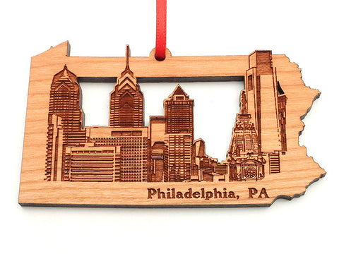 Philadelphia City Skyline in a Pennsylvania State Shape Cut Out Ornament