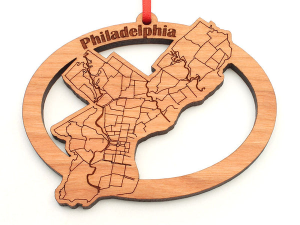 Philadelphia City Street Map Oval Ornament