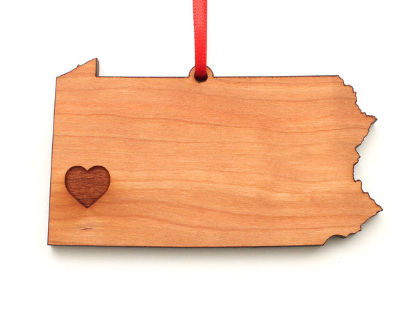 Pittsburgh Pennsylvania State Heart Ornament