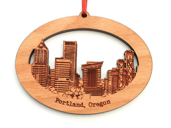 Portland Oregon Detailed Skyline Oval Ornament - Nestled Pines