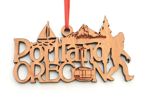 Portland Oregon Text Ornament Ornament - Nestled Pines
