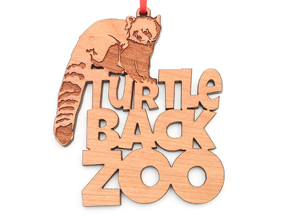 Turtle Back Zoo Red Panda Text Ornament - Nestled Pines
