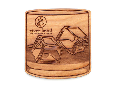River Bend Vineyard & Winery Low-ball Glassware Coaster Set of 4