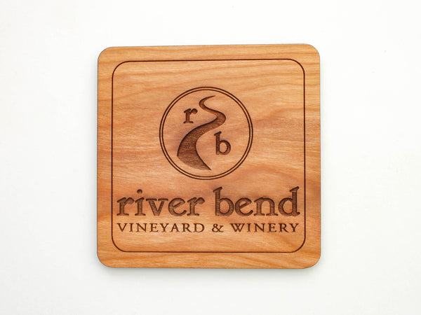 River Bend Vineyard & Winery Logo Coaster Set of 4