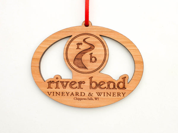 River Bend Vineyard & Winery Logo Oval Ornament
