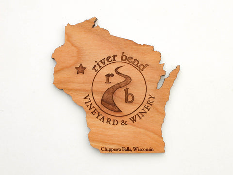 River Bend Vineyard & Winery Wisconsin State Shape Coaster Set of 4